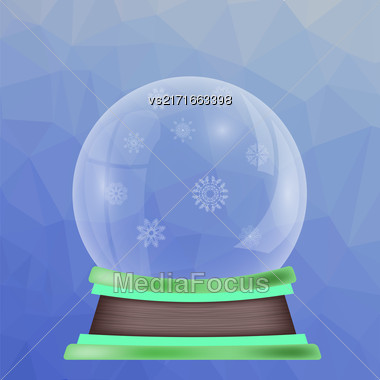 Empty Snow Globe Isolated On Blue Polygonal Background Stock Photo