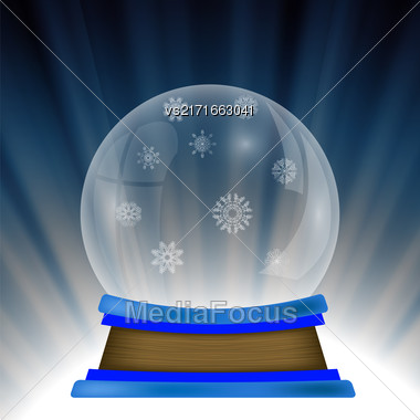 Empty Snow Globe Isolated On Blue Wave Background Stock Photo