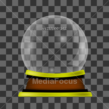 Empty Snow Globe Isolated On Checkered Background Stock Photo