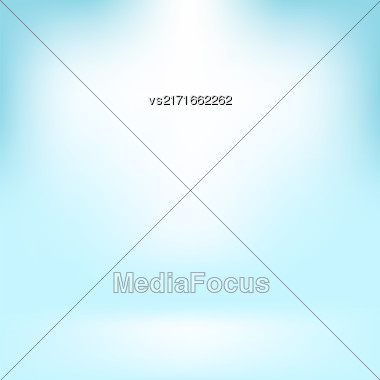Empty Studio. Light Azure Abstract Background With Radial Gradient Effect. Spotlights Blurred Background. Flat Wall And Floor In Empty Spacious Room Interior For Your Products Stock Photo