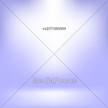 Empty Studio. Light Blue Abstract Background With Radial Gradient Effect. Spotlights Blurred Background. Flat Wall And Floor In Empty Spacious Room Interior For Your Products Stock Photo