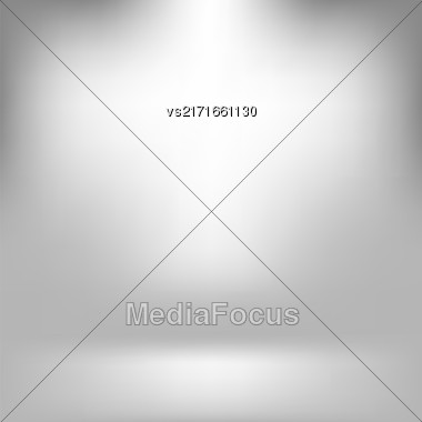 Empty Studio. Light Gray Abstract Background With Radial Gradient Effect. Spotlights Blurred Background. Flat Wall And Floor In Empty Spacious Room Interior For Your Products Stock Photo