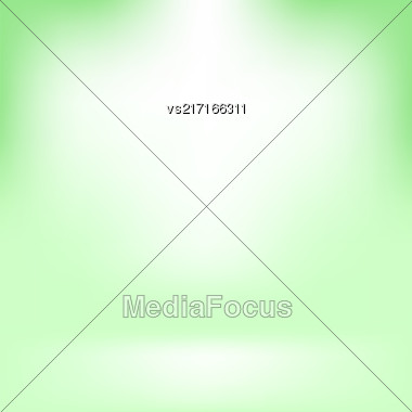 Empty Studio. Light Green Abstract Background With Radial Gradient Effect. Spotlights Blurred Background. Flat Wall And Floor In Empty Spacious Room Interior For Your Products Stock Photo