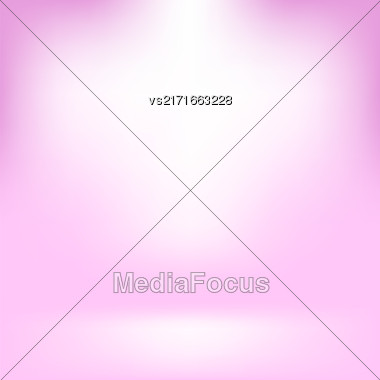 Empty Studio. Light Pink Abstract Background With Radial Gradient Effect. Spotlights Blurred Background. Flat Wall And Floor In Empty Spacious Room Interior For Your Products Stock Photo