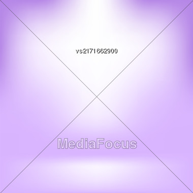 Empty Studio. Light Purple Abstract Background With Radial Gradient Effect. Spotlights Blurred Background. Flat Wall And Floor In Empty Spacious Room Interior For Your Products Stock Photo