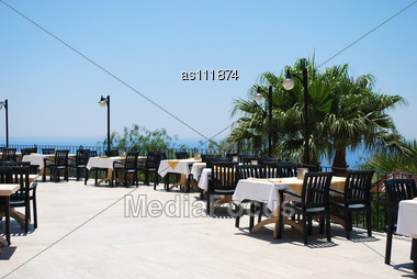 Empty Summer Cafe With The Sea View Stock Photo