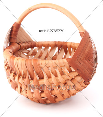 Empty Wicker Basket Isolated On White Background Stock Photo