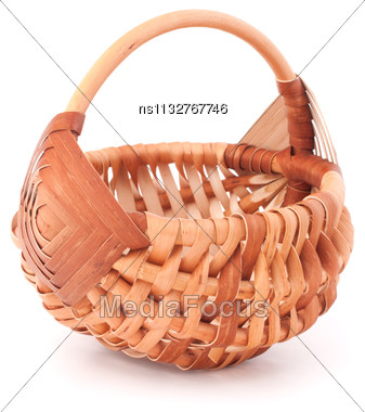 Empty Wicker Basket Isolated On White Background Stock Photo