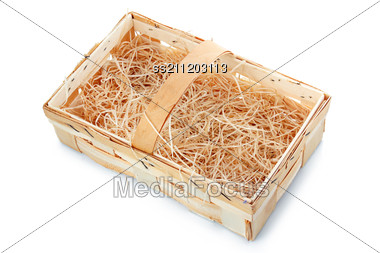 Empty Wooden Basket With Straw Stock Photo