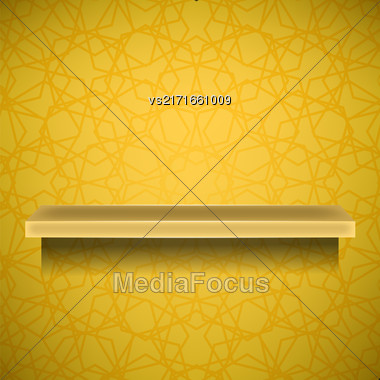 Empty Yellow Shelf On Ornamental Yellow Lines Background Stock Photo