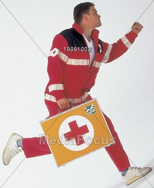 EMS Running Stock Photo