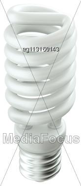 Energy Efficient Technology: Light Bulb Isolated Over White Stock Photo