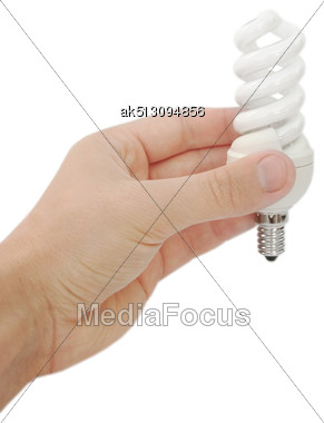 Energy Saving Lamp In The Hand Stock Photo