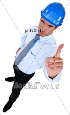 Engineer Shaking His Finger Stock Photo