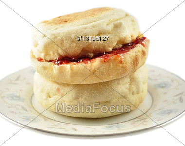 English Muffins With Jelly On White Background Stock Photo