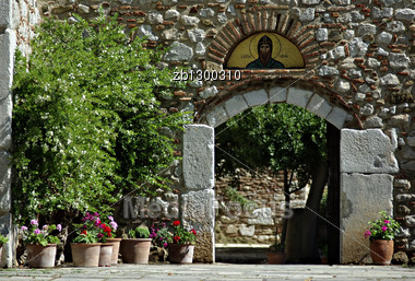 Entrance To The Church At Old Greek Monastery Of Agios Loukas At Sunny Summer Day. Stock Photo