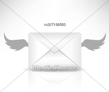 Envelope And Wings Isolated On White Background Stock Photo