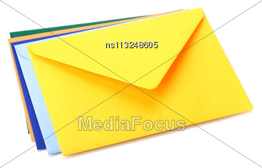 Envelopes Isolated On White Background Stock Photo
