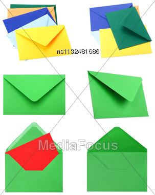 Envelopes Isolated On White Background Close Up Stock Photo