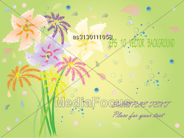 Eps10 Background With Hand Drawn Fantasy Flowers Stock Photo