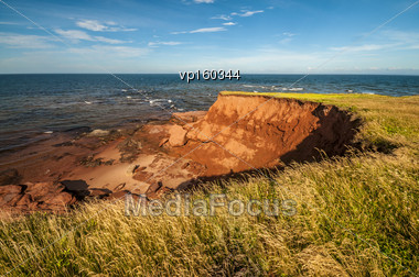 Eroded Beach Cliff Prince Edward Island Canada Stock Photo