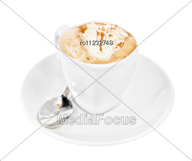 Espresso Coffee Cup With Whipped Cream And,cinnamon Stock Photo