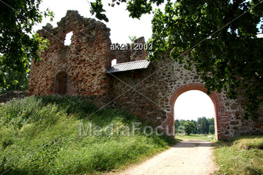 Estonia. Karksi-Nuia. Ruins Of A Castle . 13 Century Stock Photo