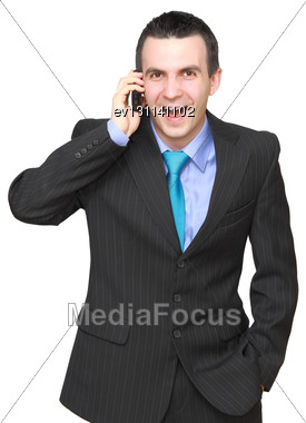 European Businessman With Cell Phone-wonder Face. Isolated Over White Stock Photo