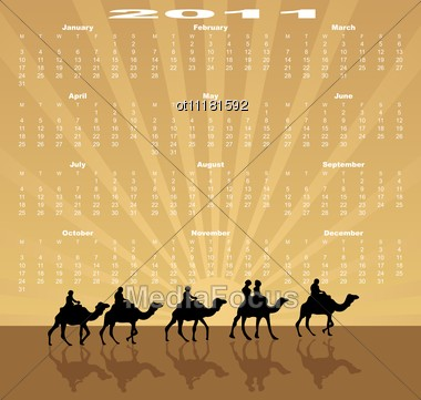 European Calendar 2011 Starting From Mondays Caravan Of Camels In Deserts Stock Photo
