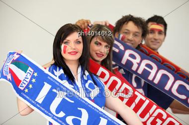 European Soccer Fans Stock Photo