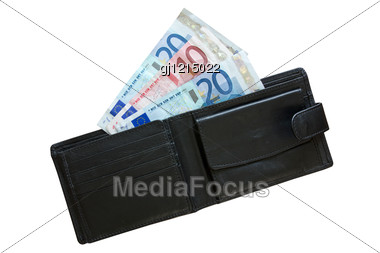 Euros In Leather Wallet Stock Photo