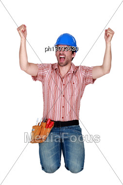 Excited Fan Cheering On His Team Stock Photo