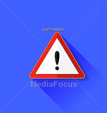 Exclamation Danger Sign Isolated On Blue Background. Long Shadow Stock Photo