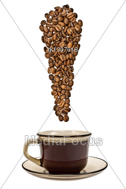 Exclamation Point Of The Coffee Beans With A Cup Of Drink Stock Photo