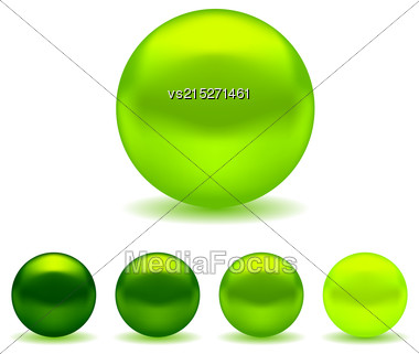Exotic Green Pearls Set Isolated On White Background Stock Photo