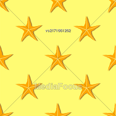 Exotic Seafish Seamless Pattern On Yellow Background Stock Photo
