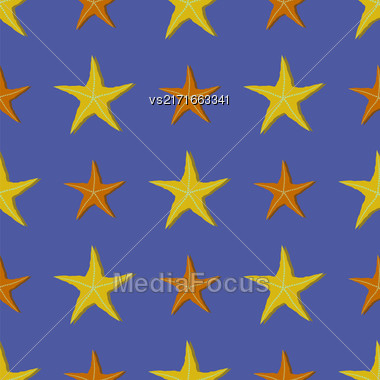 Exotic Seafisn Seamless Pattern On Blue Background Stock Photo