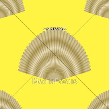 Exotic Seashell Seamless Pattern On Yellow Background Stock Photo