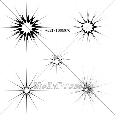 Explode Flash, Cartoon Explosion. Burst Set Isolated On White Background Stock Photo