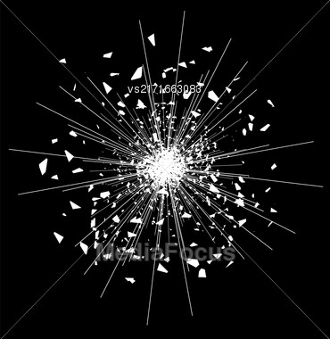 Explode Flash, Cartoon Explosion, Space Star Burst Isolated On Black Background Stock Photo