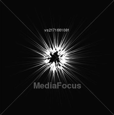 Explode Flash, Cartoon Explosion, Star Burst Isolated On Dark Background Stock Photo