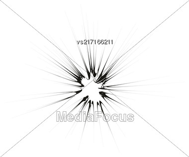 Explode Flash, Cartoon Explosion, Star Burst Isolated On White Background Stock Photo