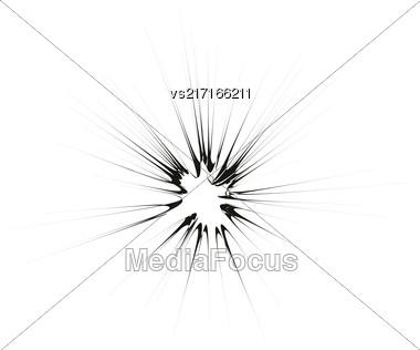 Explode Flash, Cartoon Explosion, Star Burst Isolated On White Background Stock Photo