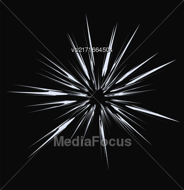 Explode Flash, Cartoon Explosion, Star Burst Isolated On Dark Background Stock Photo