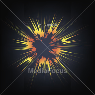 Explode Flash, Cartoon Explosion, Star Burst Isolated On Black Background Stock Photo
