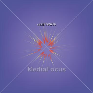 Explode Flash, Cartoon Explosion, Star Burst Isolated On Blue Sky Background Stock Photo