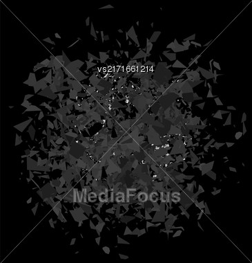 Explosion Cloud Of Grey Pieces On Black Background. Sharp Particles Randomly Fly In The Air Stock Photo
