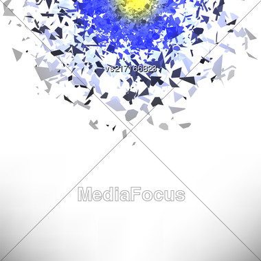 Explosion Cloud Of Grey Pieces On White Background. Sharp Particles Randomly Fly In The Air Stock Photo
