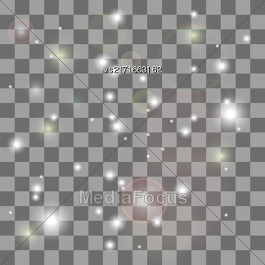 Explosive With Spark. Glow Star Burst Light Effect. Sparkles Light Transparent Checkered Background Stock Photo