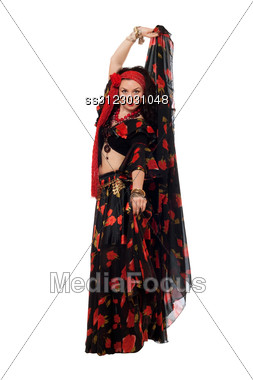 Expressive Gypsy Woman In A Black Skirt. Stock Photo